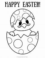 Easter Coloring Egg Printable Pages Happy sketch template