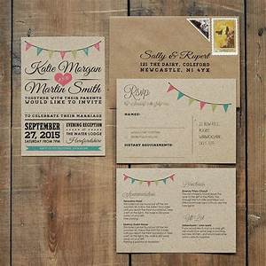 vintage bunting kraft wedding invitation feel good With free printable wedding invitations bunting