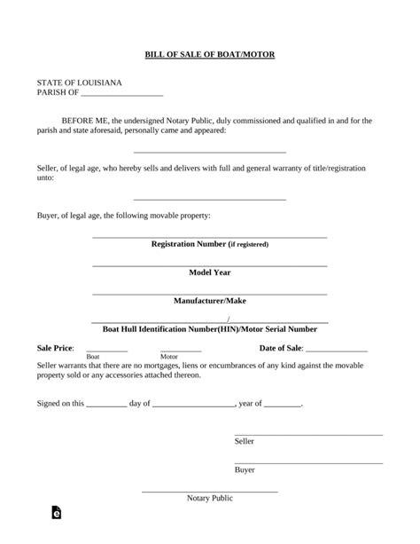 Louisiana Boat Bill Of Sale free louisiana boat bill of sale form pdf eforms