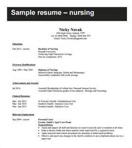 resume template word nursing sle nursing resume 8 free documents in pdf