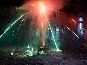 Showers Of Sparks  Colorful Smoke Make Abandoned Places