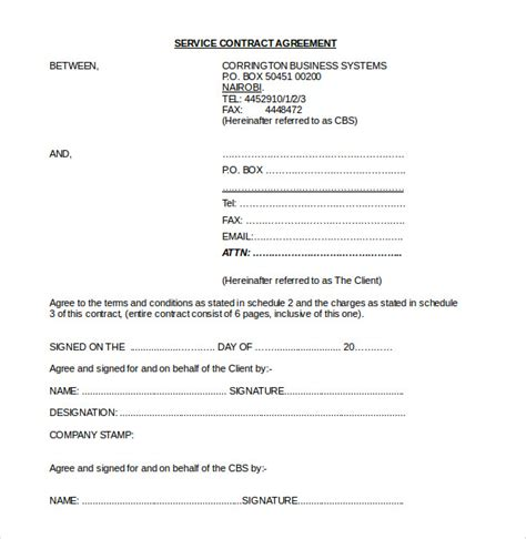 service agreement contract 18 contract agreement templates free sle exle format free premium templates