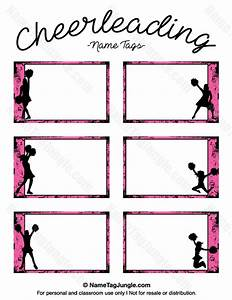 Free printable cheerleading name tags each name tag features a pink grunge border with for Cheerleader template
