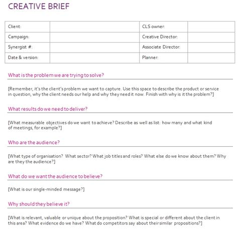 33 Best Creative Brief Templates And Examples 100 Free