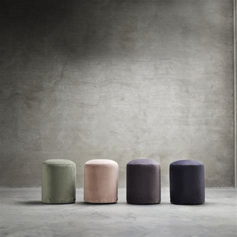 Pouf, round, dia. 35 x H 45 cm, velvet, rose   Products