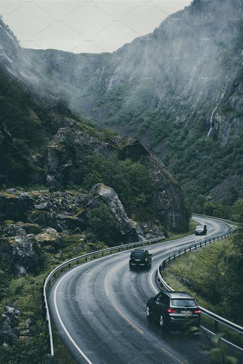 winding mountain road  norway transportation