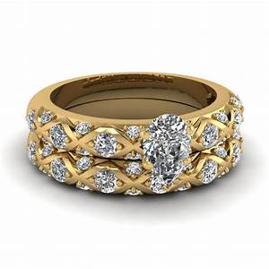 cross design pear shaped pave diamond wedding ring set in With pear shaped wedding ring set