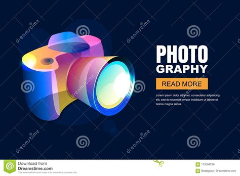 vector glowing neon photo studio poster  banner