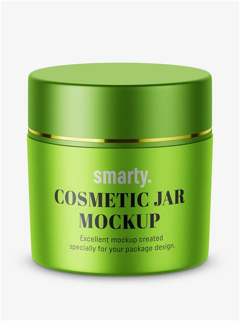 This mockup is absolutely free and can be used for cosmetic cream lotion jar with twist cap. Metallic cosmetic jar mockup - Smarty Mockups