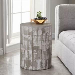 Sculpted concrete drum side table west elm for Concrete drum coffee table