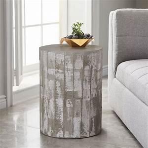 Sculpted concrete drum side table west elm for Concrete drum coffee table