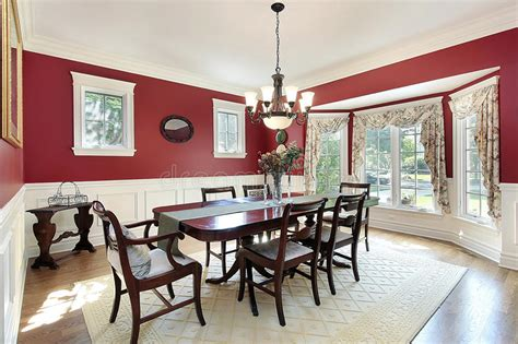 dining room  red walls stock image image  luxury