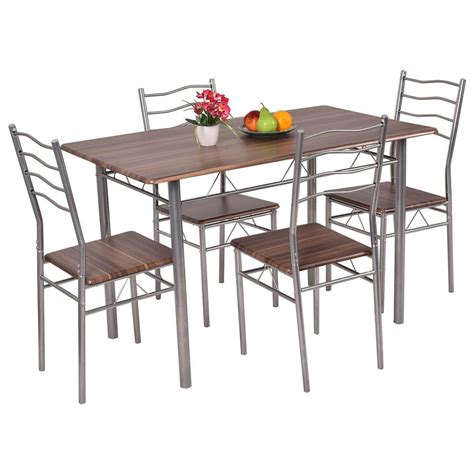 kitchen furniture sets set 5 dining wood metal table and 4 chairs kitchen