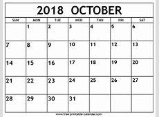 October 2018 Calendar Printable Pdf postrendycom