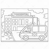 Hospital Coloring Ambulance Outline Near Vector Sign Illustration Pages Doctor Cartoon Template Depositphotos sketch template