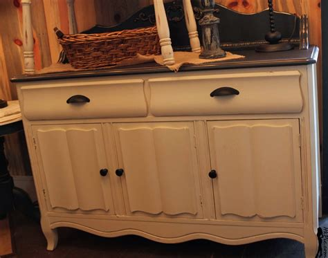 Antique White Sideboards And Buffets by The Shabby Cottage Home Curvy Black And Antique White Buffet