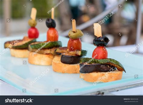 canape toast canape bread vegetables grill on stock photo