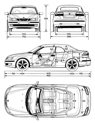 Kleurplaat Dieer by Car Blueprints 2000 Saab 9 3 Test Kleurplaten
