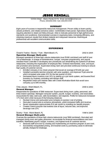 Restaurant Manager Resume Objective by Resume Exles For Management Manager Resume