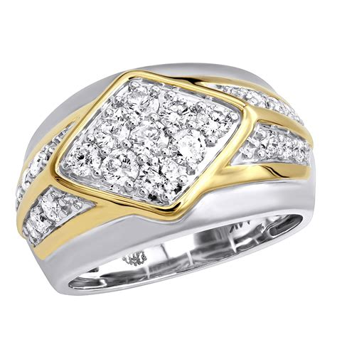 unique mens ring in 14k gold luxurman wedding band 1 6ct