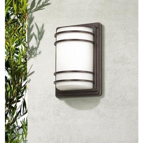 habitat collection 11 high indoor outdoor wall light habitat 11 quot high bronze and opal glass outdoor wall light