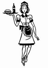 Waitress Illustration Diner Clip Illustrations Wheels Vector sketch template