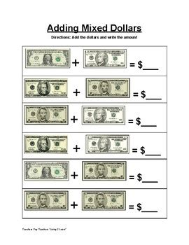 money worksheets life skills 20 differentiated counting dollar up more