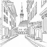 Coloring Town Medieval Estonia Tallinn Vector Pages Adult Colouring Buildings Drawing Clipart Houses Perspective Graphicriver Kidspressmagazine Around Architecture Illustration Places sketch template