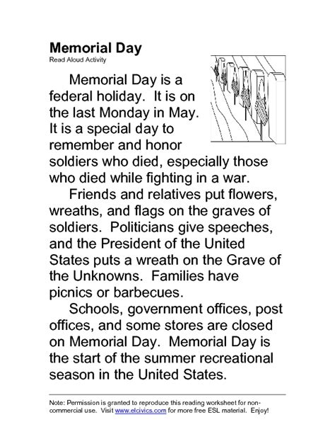 Memorial Day: ESL Read Aloud Activity Handouts & Reference