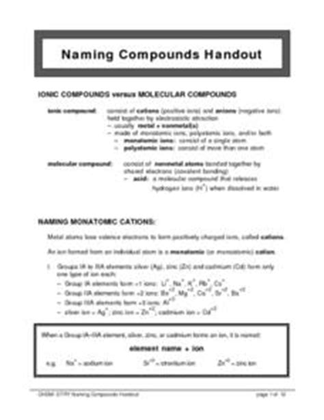 naming compounds handout 10th 12th grade worksheet
