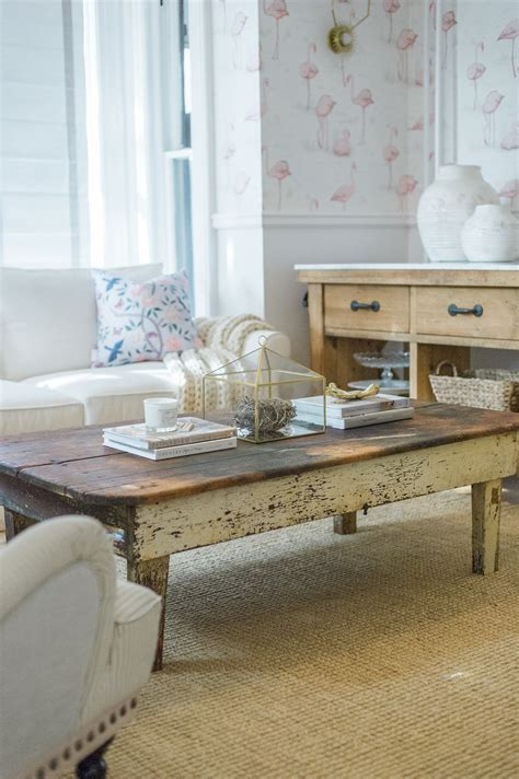 It is beautifully finished in an natural weathered oak with subtle textured wood grain. DIY Farmhouse Coffee Table - The Leslie Style