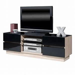 TVLowboard Leander Hochglanz Schwarz Sonoma Eiche Tv