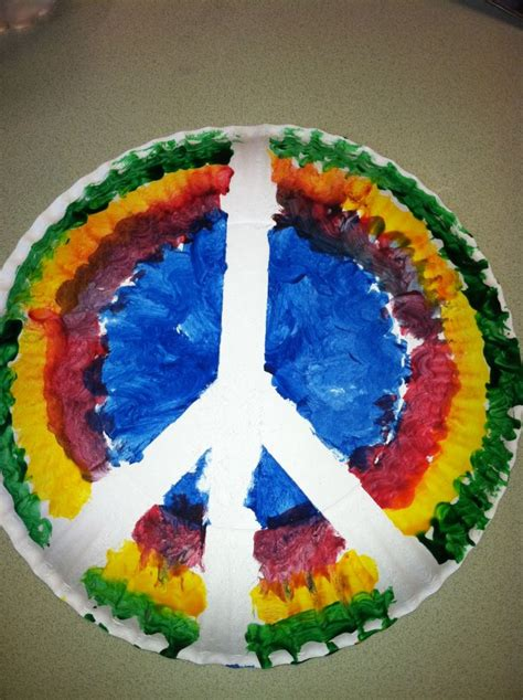 Peace Sign For 70's Week Paper Plate, Masking Tape, And
