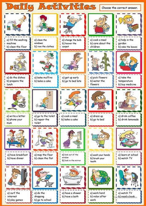 daily activities mc worksheet  esl printable
