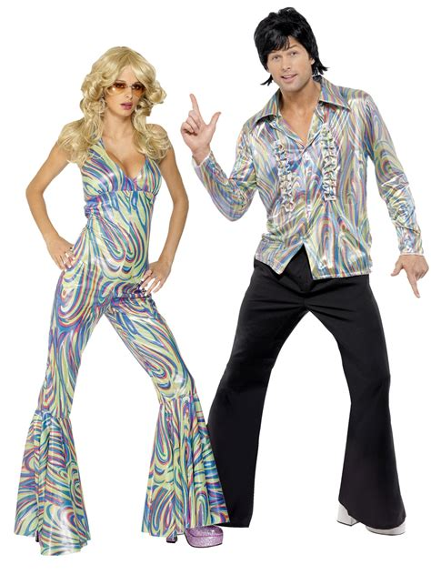 Adults 1970s Retro Costume Mens Ladies Dancing Queen Fancy Dress Disco Outfit | eBay