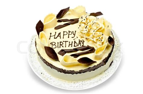 Chocolate Cake With Words Happy Birthday On It Stock