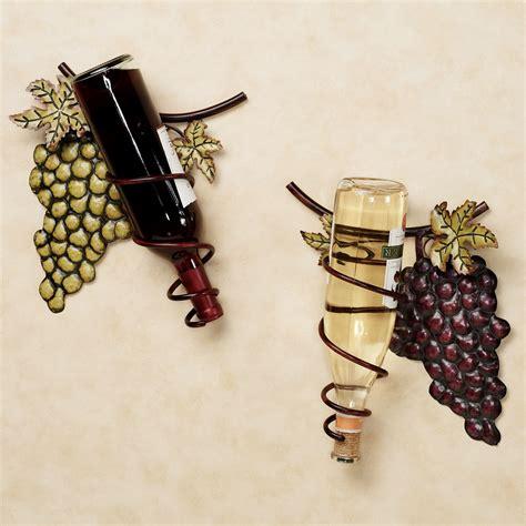 wine valley grapes metal wall wine rack set