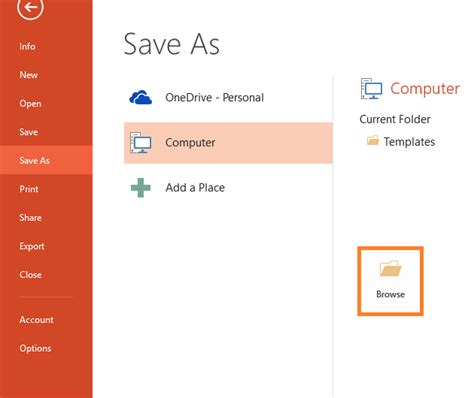 powerpoint files file save  browse