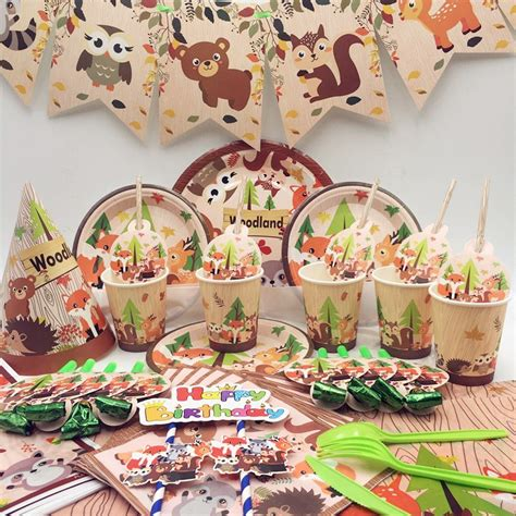 Forest Animal Party Decorations Disposable Tableware Set