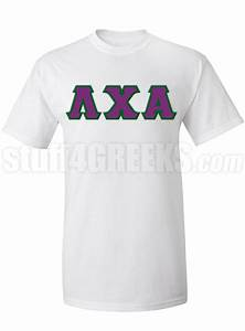 Lambda chi alpha greek letter screen printed t shirt white for Lambda chi alpha letter shirts