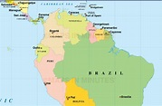 Digital vector South American Countries map in Illustrator ...