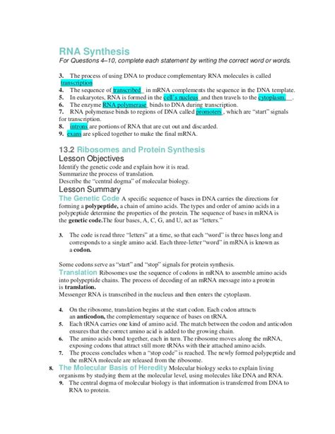 Chapter 12 Dna And Rna Chapter Vocabulary Review Answer Key  Share The Knownledge