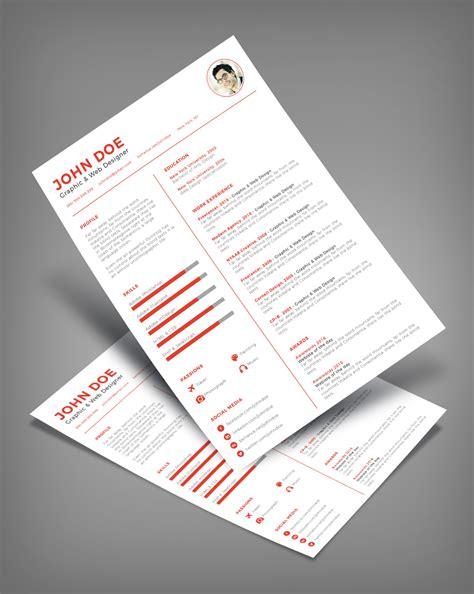 clean minimal resume cv design template ai file