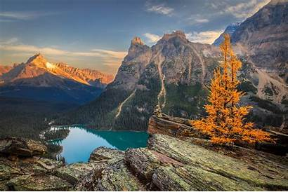 Scenery Canada Lake Mountains Autumn Nature Yoho