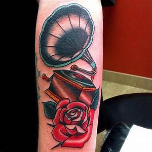 Arm New School Flower Gramophone Tattoo by Da Vinci Tattoo