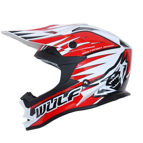 motocross helmet wulfsport advance red white black motocross helmet off