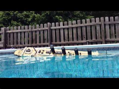 lego ship sinking in pool lego lusitania model sinking starboard view