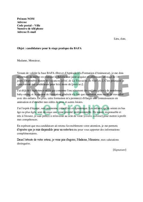 colonie cuisine lettre de candidature pour le stage pratique du bafa pratique fr