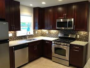 Kitchen Backsplashes With Granite Countertops Kitchen Remodel Cabinets Backsplash Stainless Steel Appliances Tile Floor Small