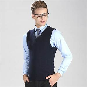 Autumn and winter solid color fashion v neck casual men knit cashmere sweater vest-in Pullovers ...